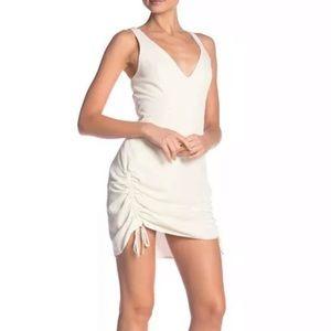 Amanda Uprichard V-Neck Drawstring Ivory Dress
